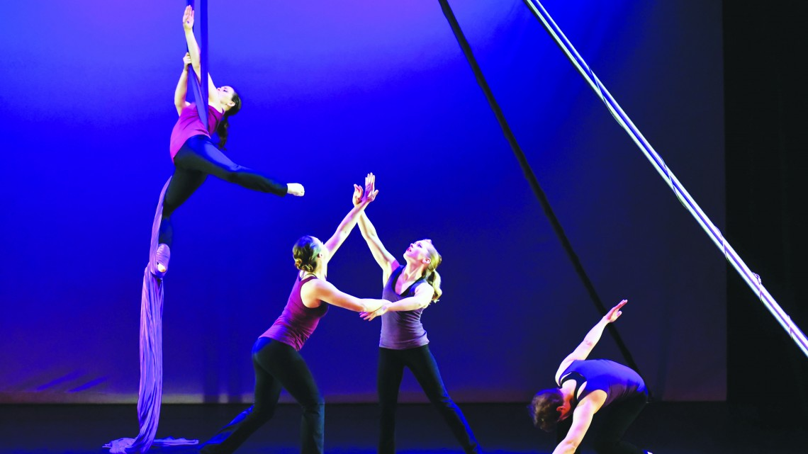 This year's Dance Showcase, which took place over the weekend in the Bud Frank Theater, included aerial performances and floor choreography. (Photograph courtesy of Larry Smith/ East Tennessean)